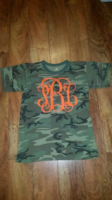 Camouflage and Hunter Orange Monogram T-shirt. Silhouette Cameo HTV Craft Project