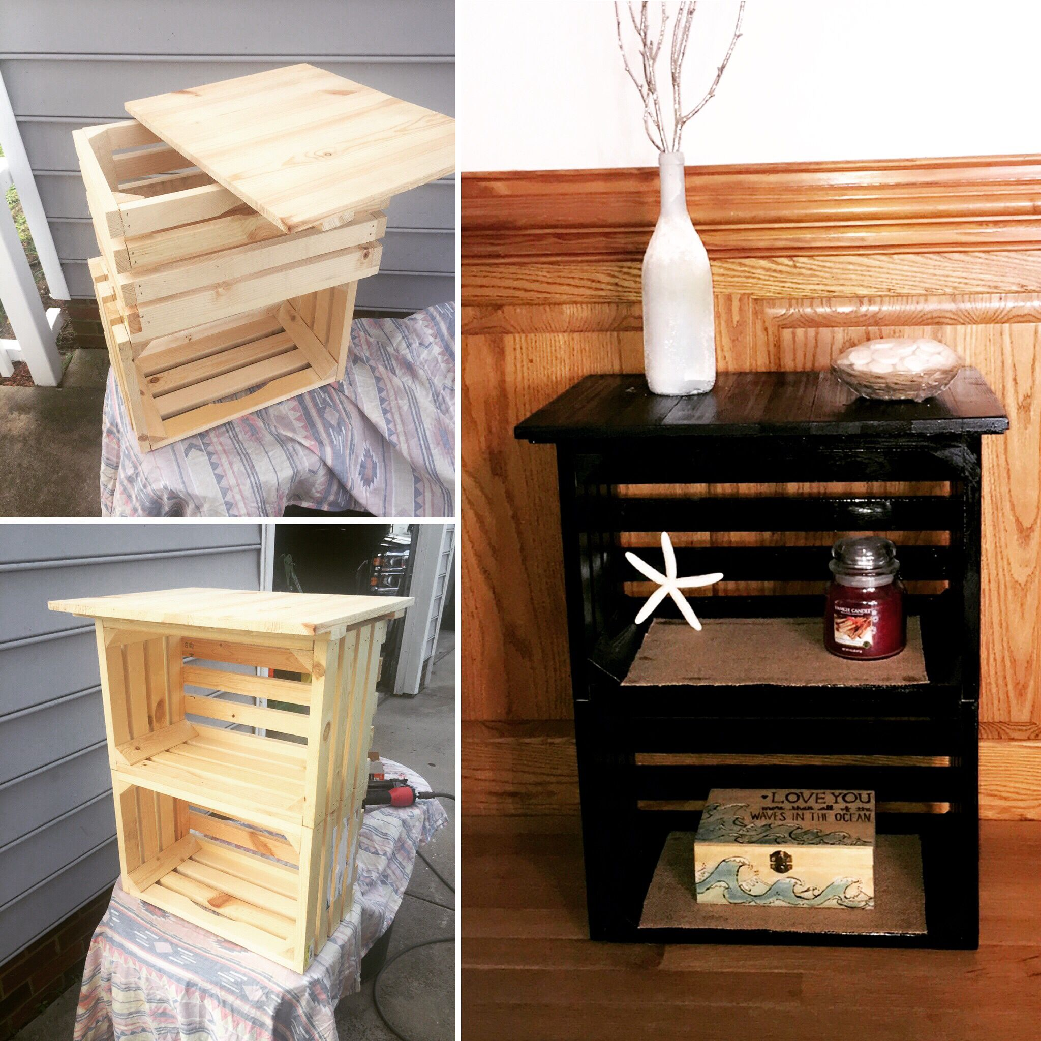 Diy crate nightstand $30 Pallet Craft Ideas Pinterest