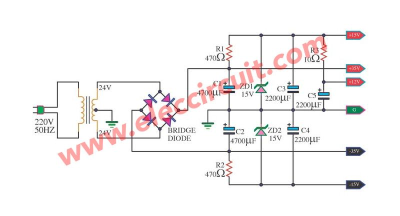 simple power supply diagram power supply for audio amplifier circuit multiple output 12v  15v  audio amplifier circuit