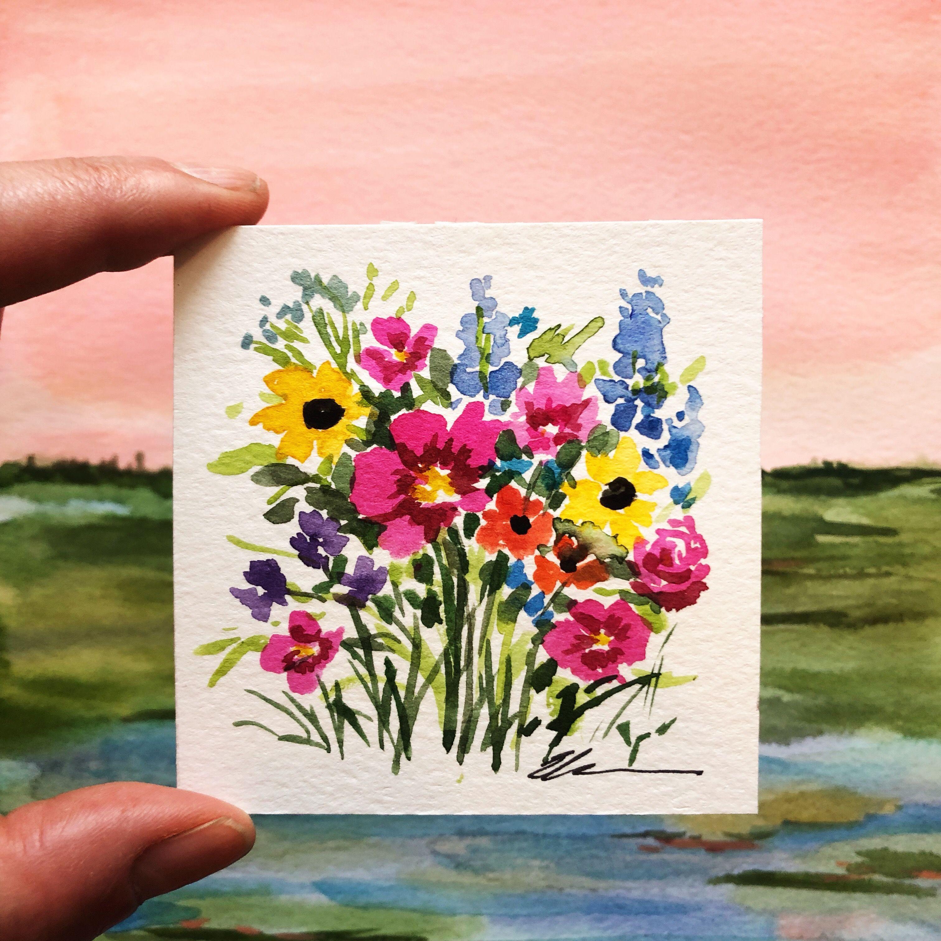 A Cute 3 X3 Mini Art Artwork Homedecor Watercolor Artist
