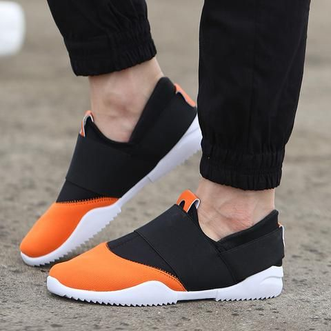 Mens Breathable Laceless Running Shoes