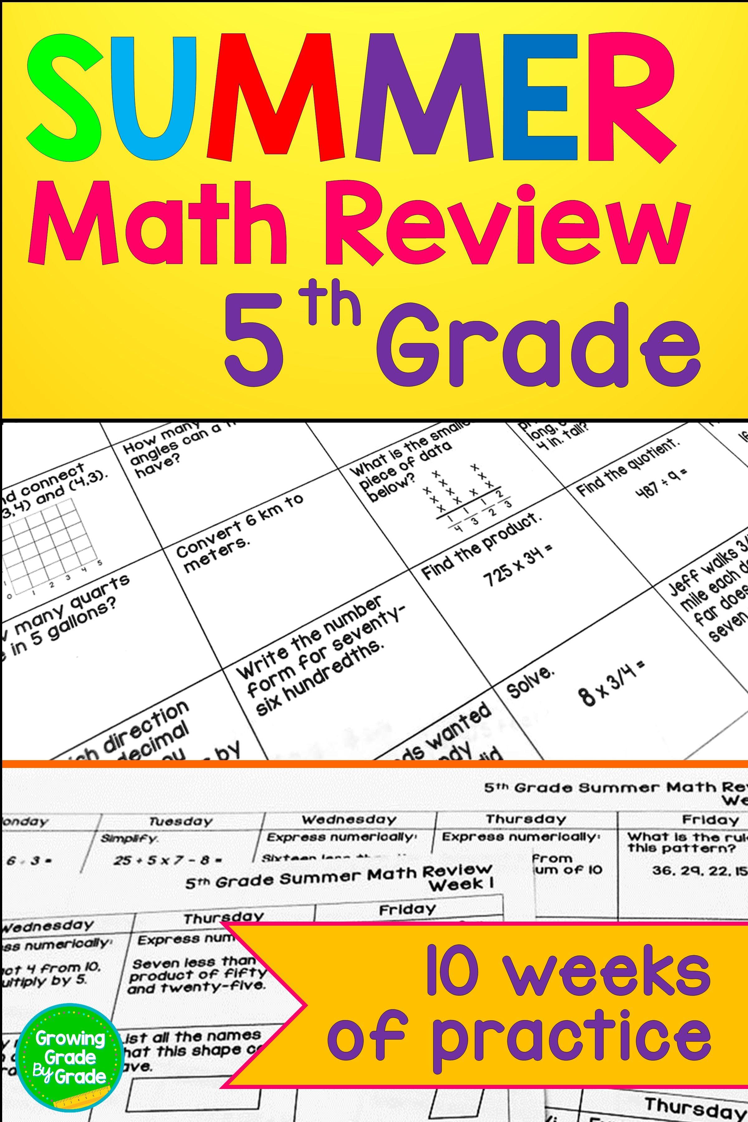 Summer Math Review 5th Grade 4th