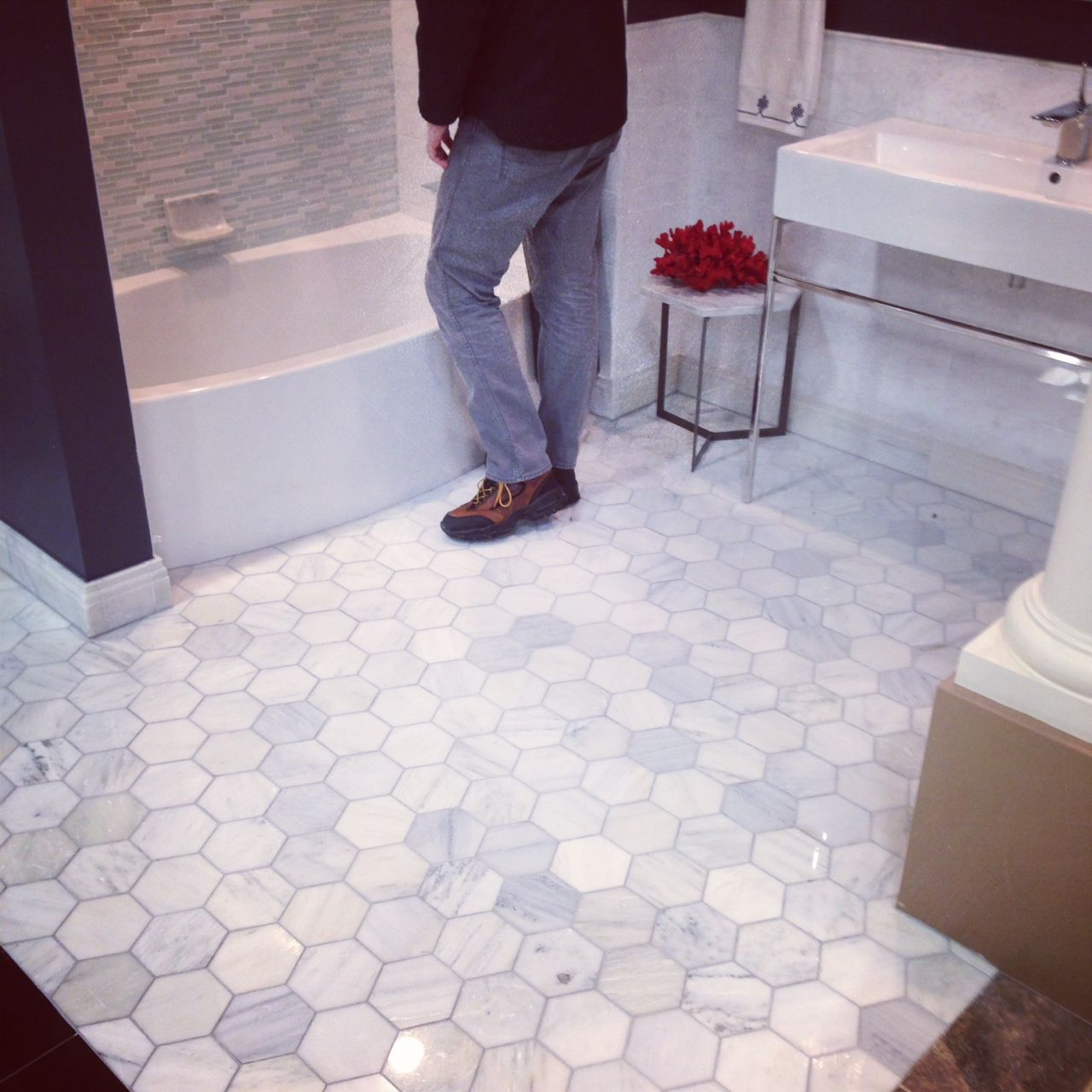 5 inch hexagon carrara marble tile bathroom floor park ave pinterest powder tile and Marble hex tile bathroom floor