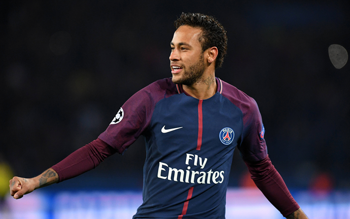 Download wallpapers 4k, Neymar JR, joy, PSG, soccer