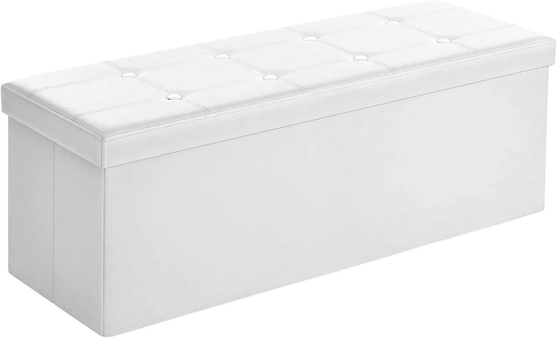 Ottoman Storage Foldable Faux Leather - White