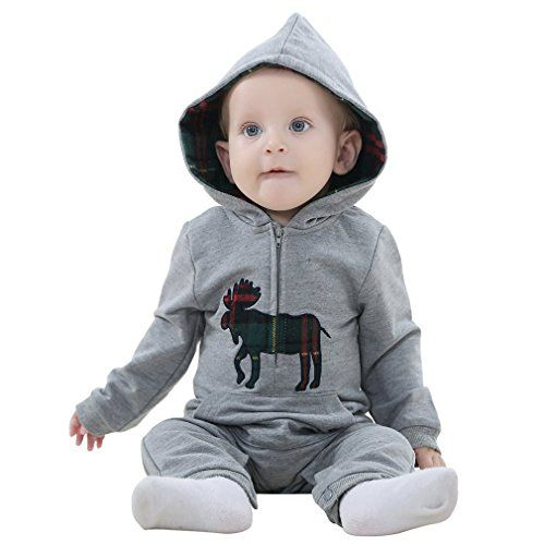 Mycloth IDGIRL Baby Girl Boy Hooded Romper Pajamas Cotton Jumpsuit Spring  Autumn  Winter 1924months Gray *** You can get additional details at the image link.Note:It is affiliate link to Amazon.