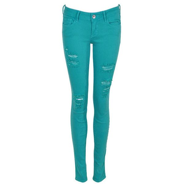 Skinny Green High Waist Denim Jeans With Distressed Detail ($102) ❤ liked on Polyvore