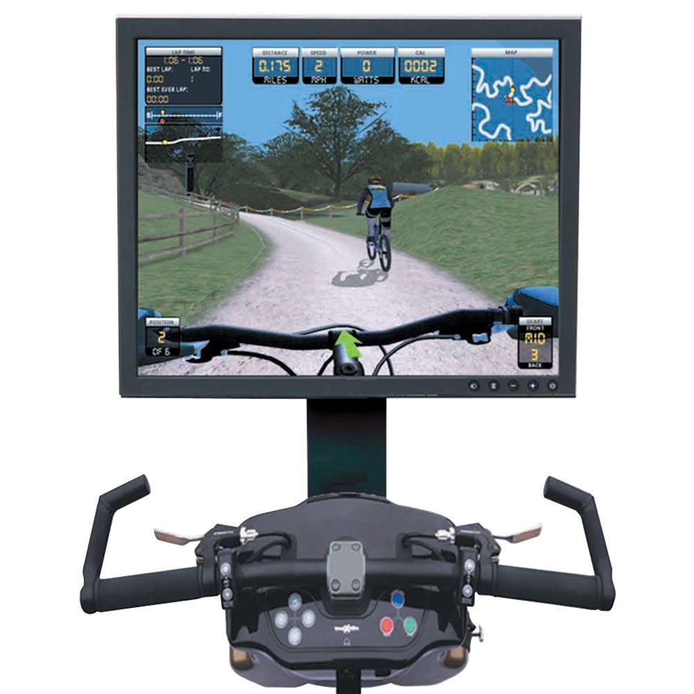 The Virtual Mountain Bike Racing Simulator Hammacher Schlemmer