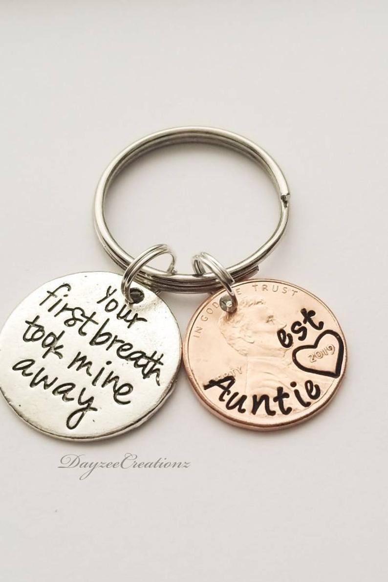 Personalized Aunt Est Penny Keychain Mother S Day Gift Sister Mom Grandma Auntie Best Friend Birthday Christmas Custom Keyring Personalized Aunt Mother Day Gifts Gifts