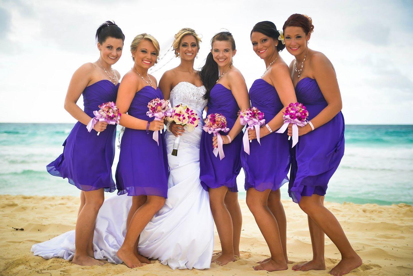 Purple beach bridesmaids. Bill Levkoff chiffon purple bridesmaids ...
