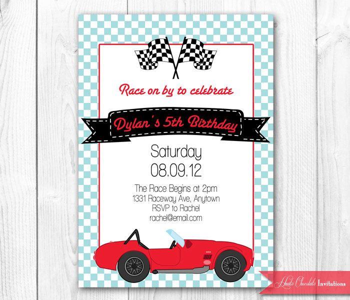 Vintage Race Car Birthday Invitation Race Car Invitation DIY Print