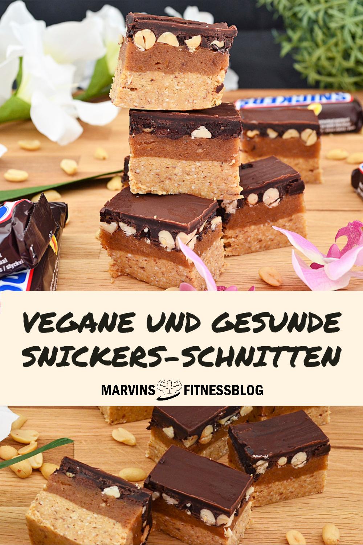 Rezept: Vegane und gesunde Snickers-Schnitten