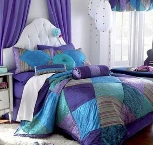 Full Double Purple Bohemian Velvet Blue Aqua Pink Lavender