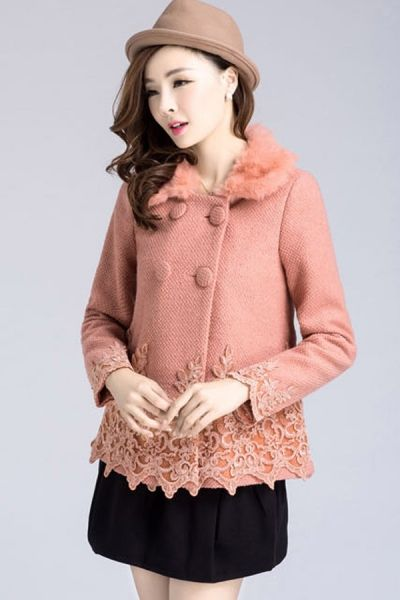 Image of Lace Embellishment Double-breasted Coat