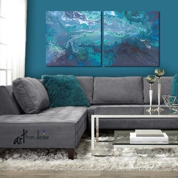 Gray And Teal Wall Art Canvas Abstract 2 Piece Print Set Etsy Turquoise Living Room Decor Living Room Turquoise Teal Wall Art