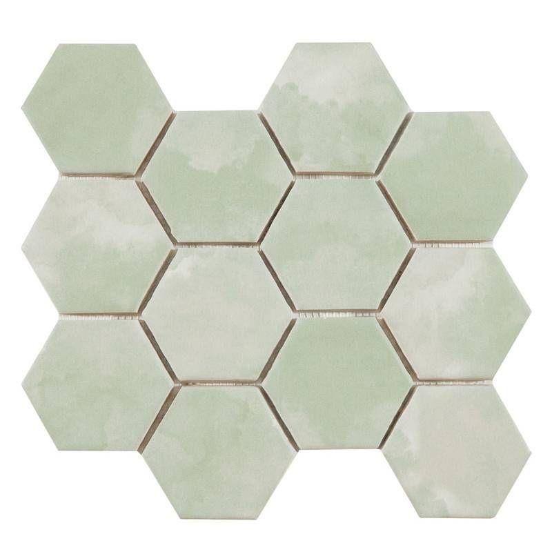 Comptoir Du Cerame Vous Propose Le Carreau Hexagonal Ho0810006 Vert Mousse Sur Maille De 23 2x26 4 Cm Superbe En Carrelage In 2020 Bathroom Design Layout Tiles Bathroom Red