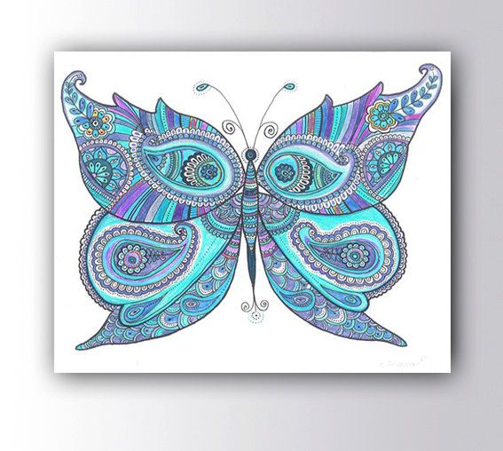 Butterfly Painting Canvas Print Christmas Gift Idea Drawing Poster Paisley Zentangle Art Boho Wall Decor Living Room