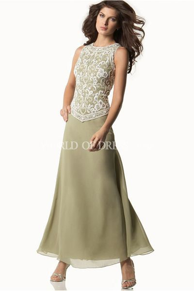 Green Tea Length Mother of the Groom Dresses