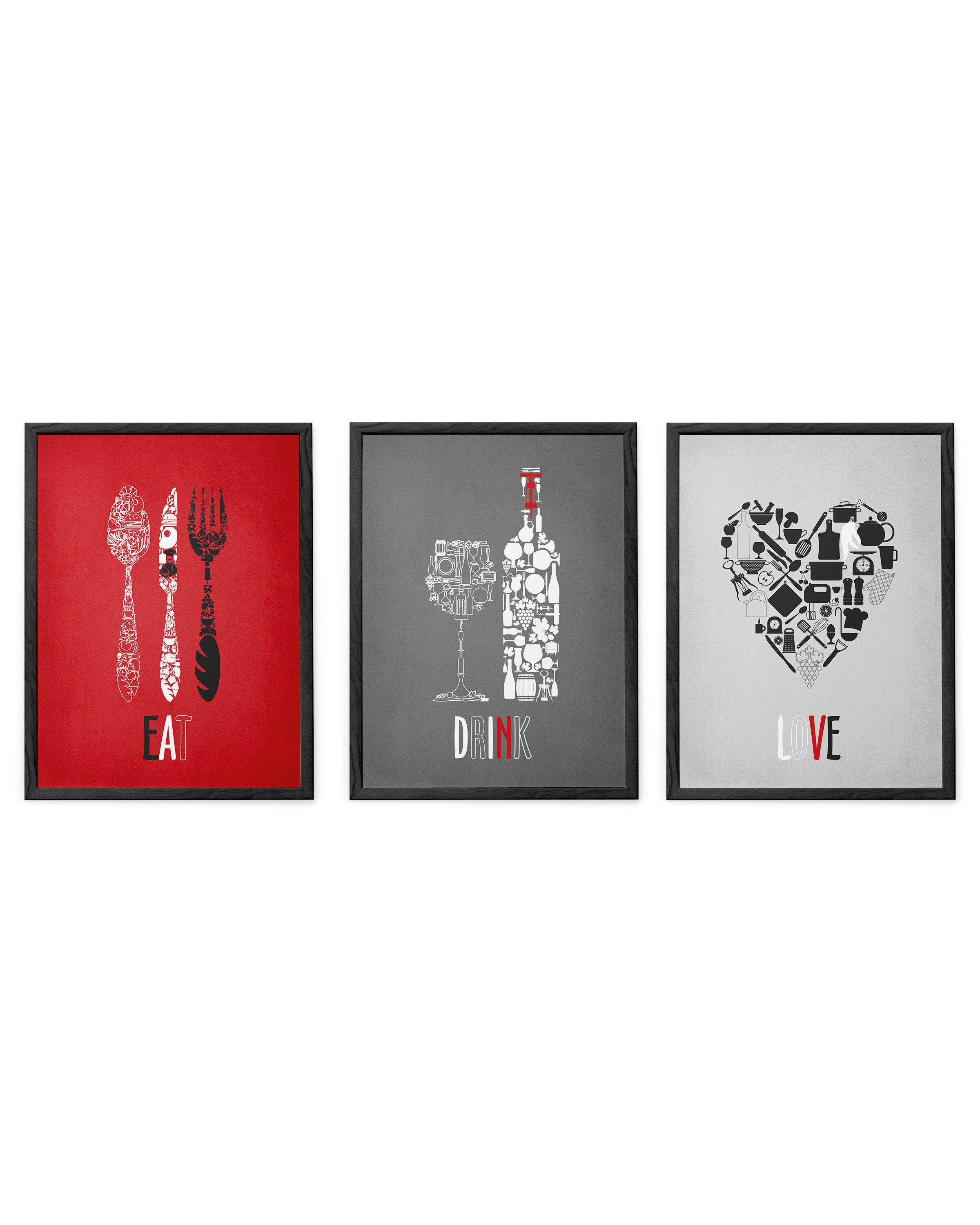 Kitchen Wall Art Print Set Eat Drink Love Utensils Wine Grey Light Mute Red Kitchen Decor Set Of 3 Red Kitchen Decor Kitchen Wall Art Red Kitchen Walls