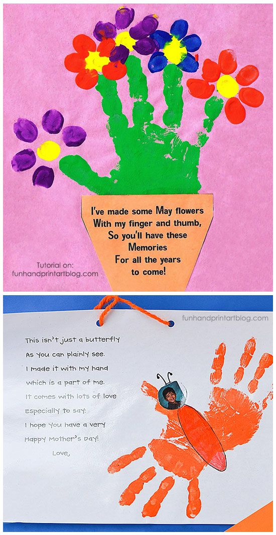 Handprint and fingerprint flowerpot with poem for mother 39 s for Mothers day art for preschoolers