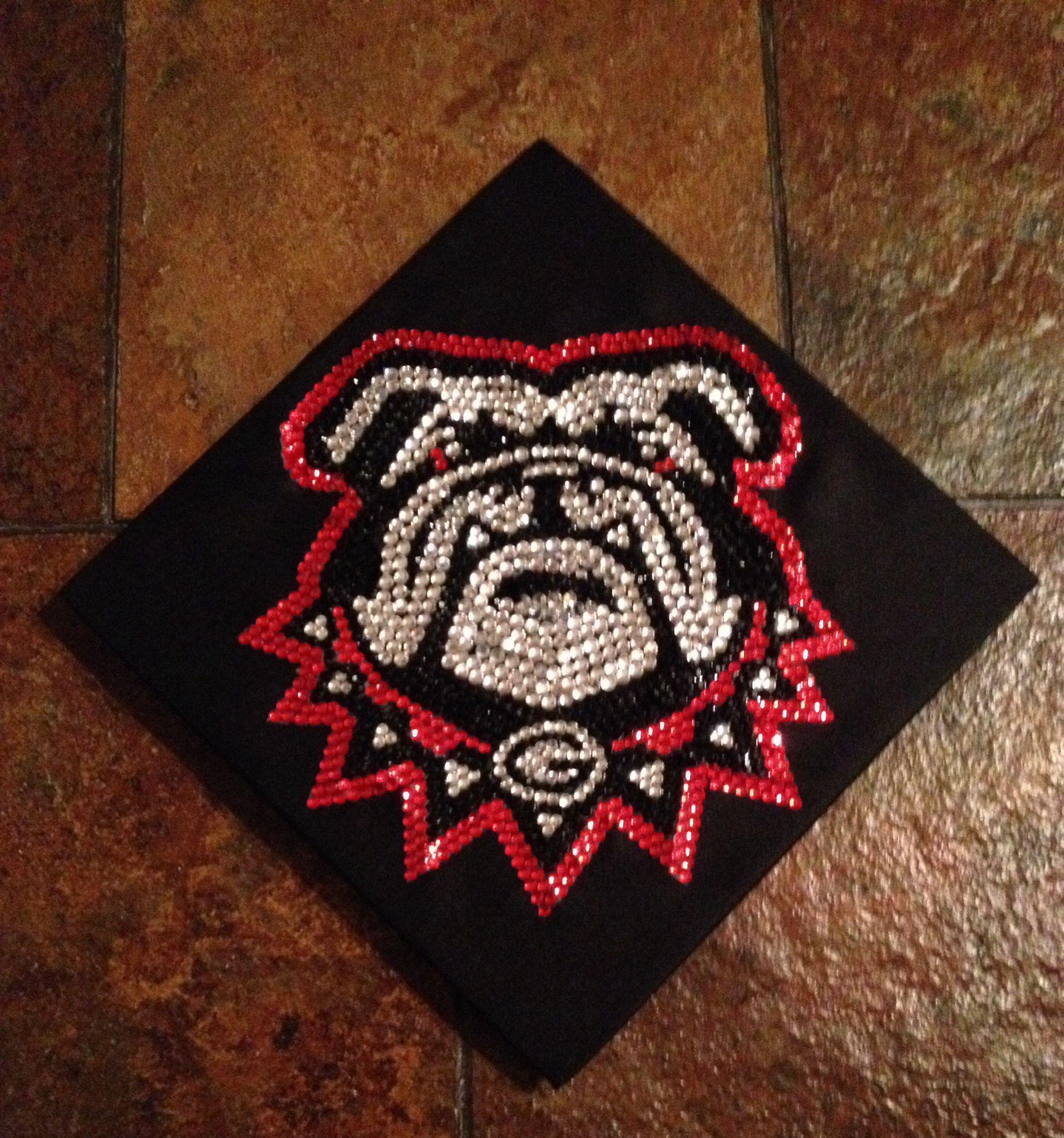 UGA graduation cap with mascot Uga. Use red, black and silver ...