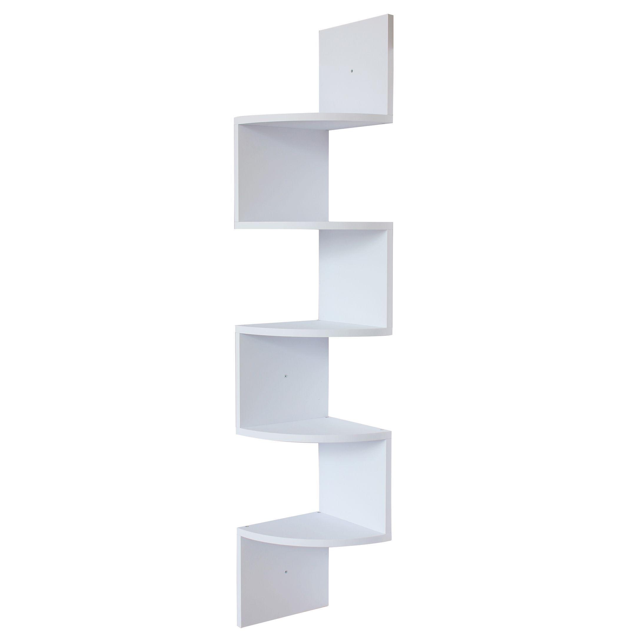 White Finish Large Corner Wall Mount Zig Zag Wallmount Shelf Hanging Shelf Decor White Wall Shelves Wall Mounted Shelves