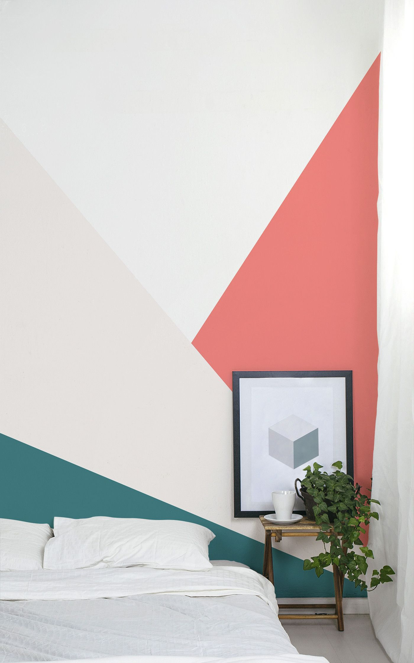 A Diy Geometric Wall Mural With Behr Paint Wallpaper Bedroom