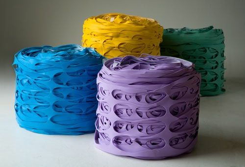Latex Roll Pouf: An upcycled seating option