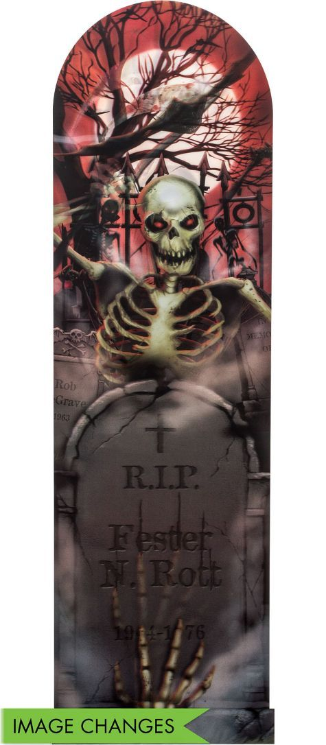 Graveyard Ghoul Lenticular Poster 39in - Party City Halloween - skull halloween decorations