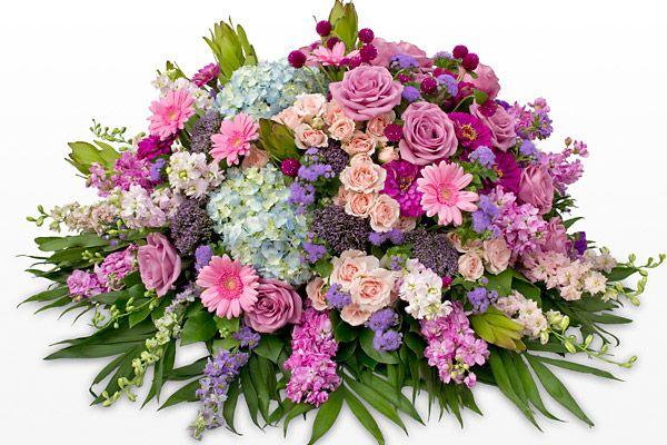 Pink And Purple Casket Spray Funeral Flower Arrangements Funeral Flowers Memorial Flowers