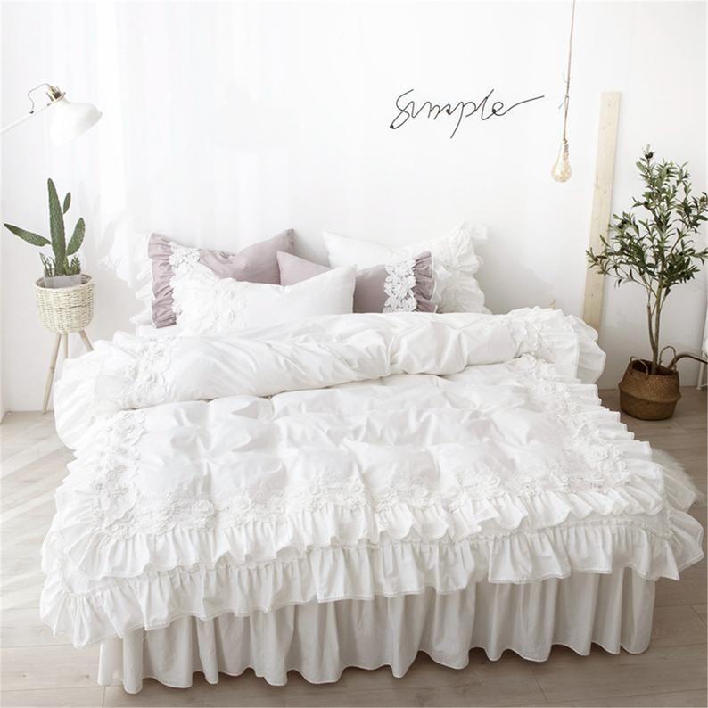 100 Cotton Soft Duvet Cover Set Double Ruffle Bedding Set 3d Etsy In 2021 Lace Bedding Set Lace Bedding Bed Cover Sets