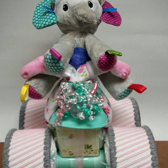 Set of 2 mint grey and pink elephant themed baby girl shower adorable shower decor or baby gift 2 mint grey and pink elephant themed baby girl diaper cakes negle Images