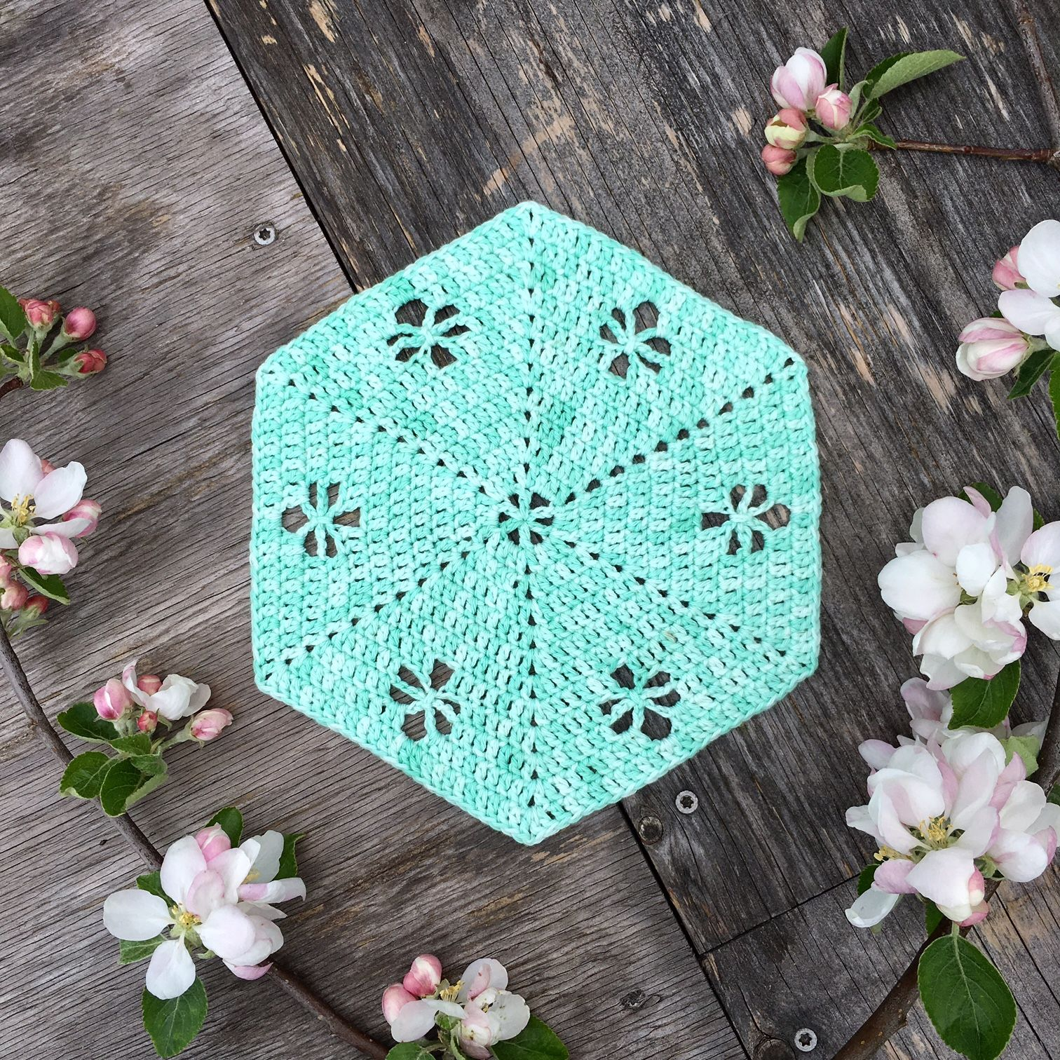 The Spring Garden Hexie Is Here A Large Crochet Hexagon With Pretty