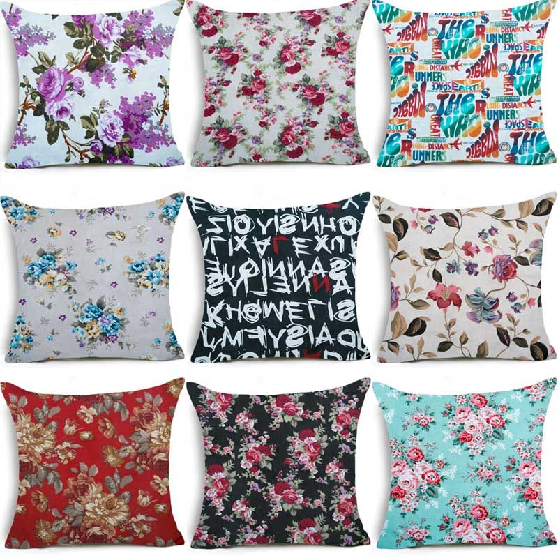 Vintage floral linen cushion cover oriental decorative cushion cover pattern retro oriental decorative pillows cases home