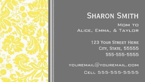 Chic lemon yellow gray damask mom calling card business cards http mom calling card business cards httpzazzlelemongraydamaskmomcallingcardsbusinesscard 240358990240802874rf238835258815790439tc colourmoves