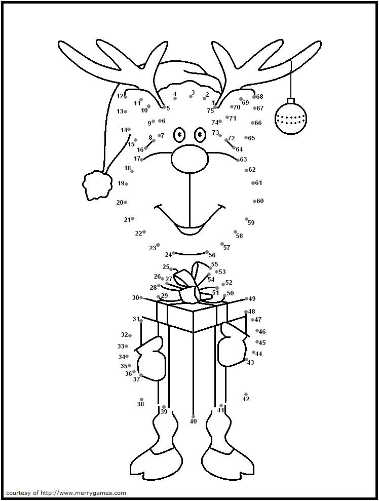 cute reindeer dot to dot puzzles kids christmas christmas printables christmas coloring pages. Black Bedroom Furniture Sets. Home Design Ideas