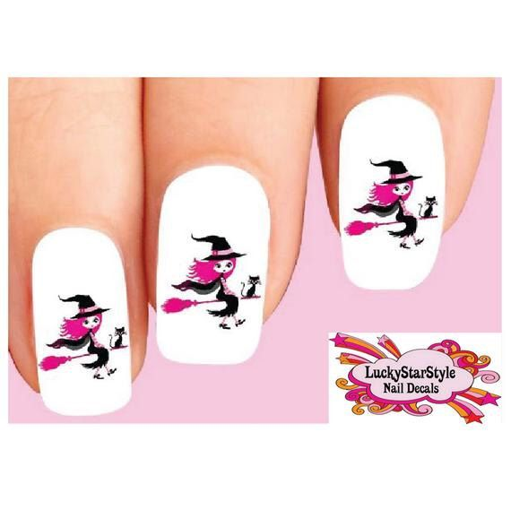 Waterslide Nail Decals Set of 20 - Halloween Pink Witch ...