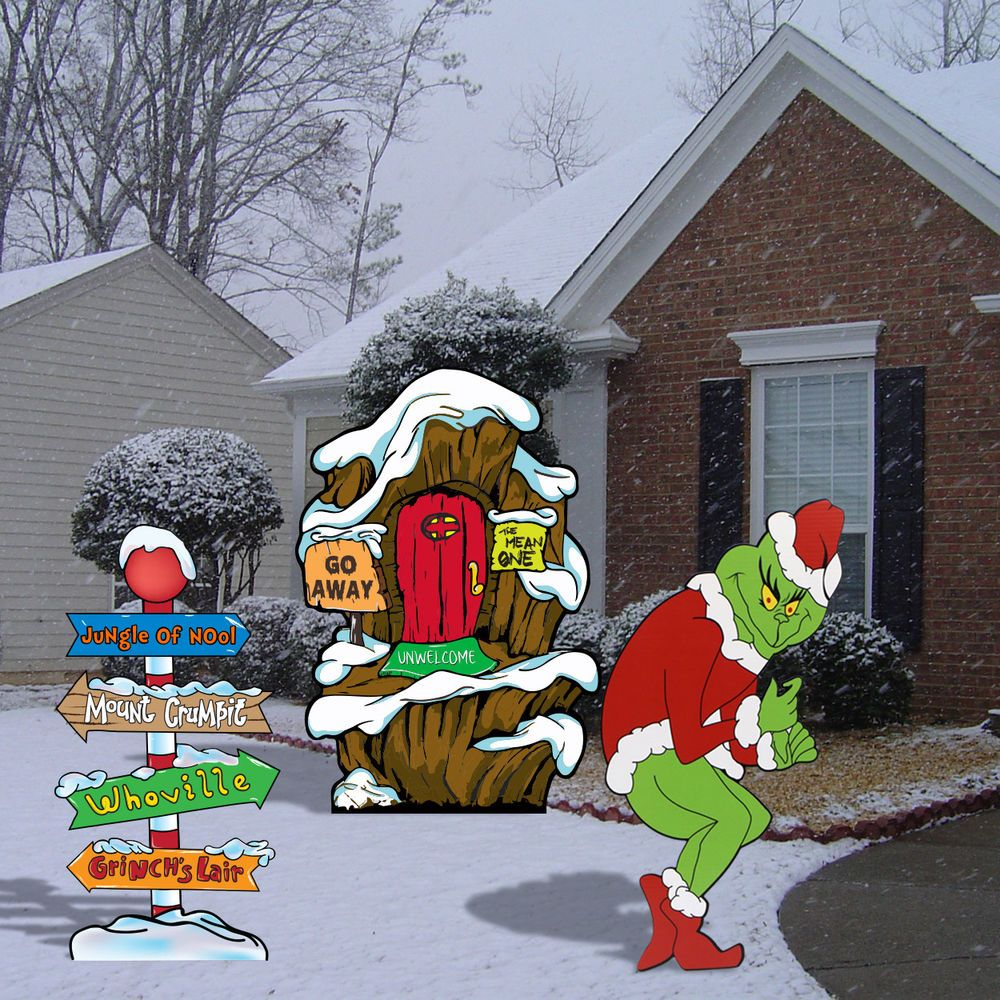 grinch stealing christmas lights lair pole yard art decor