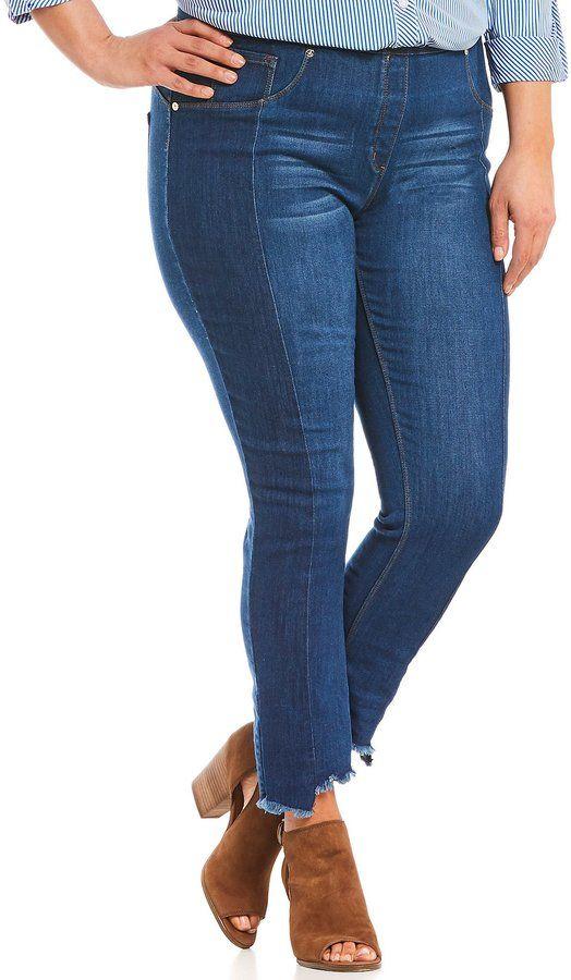 860d4596 Peter Nygard Nygard Slims Plus Luxe Denim Two Tone Raw Hem Skinny Ankle  Jeans