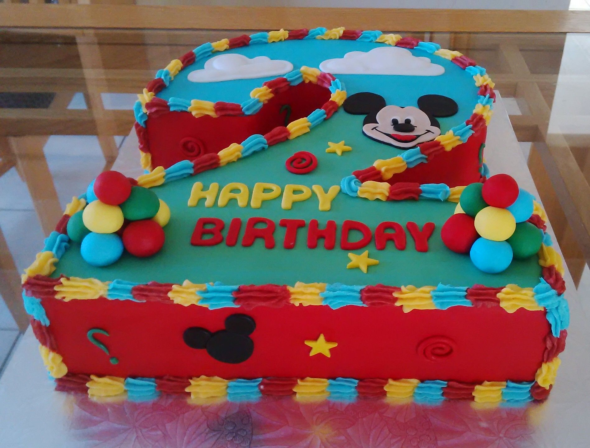 Mickey Mouse Number 2 Cake With Images Mickey Birthday Cakes