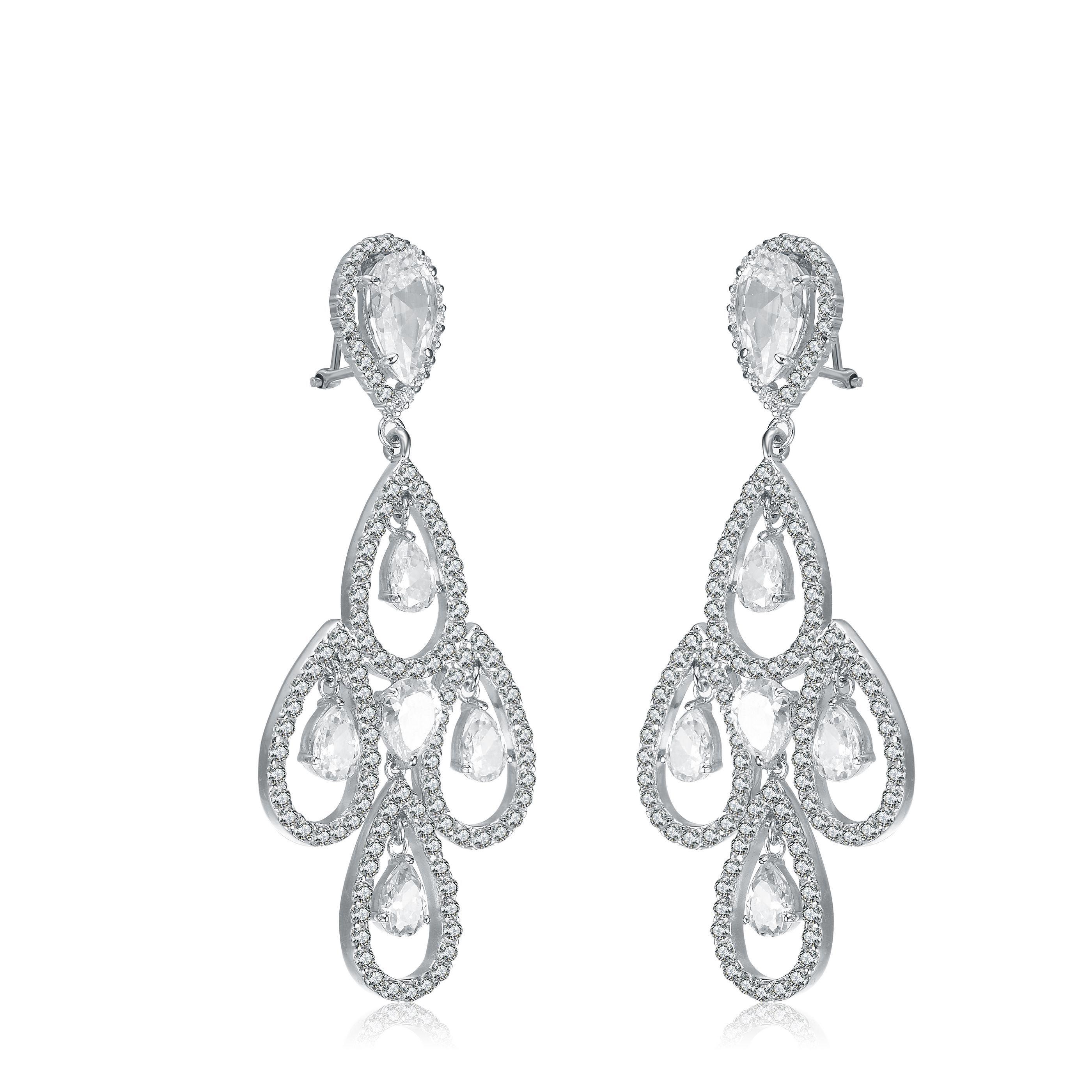 Collette Z C Sterling Silver Rhodium Plated Teardrop Chandelier Earrings Cz Women S Size Large White