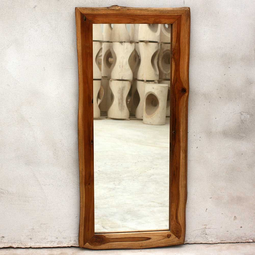 add a functional decorative accent to a bedroom or hallway with this reclaimed wood floor mirror handcrafted in thailand each sturdy teak mirror has - Wood Frame Full Length Mirror
