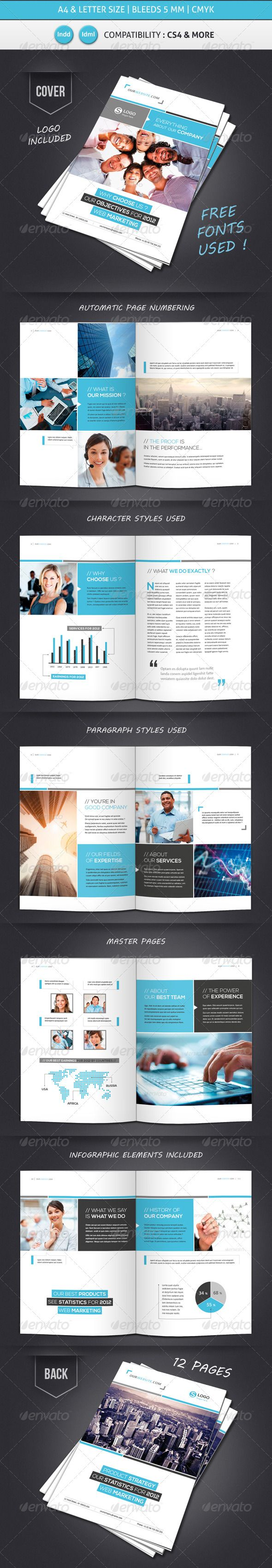 Business Brochure Template A4 Letter 12 Pages Graphicriver Item