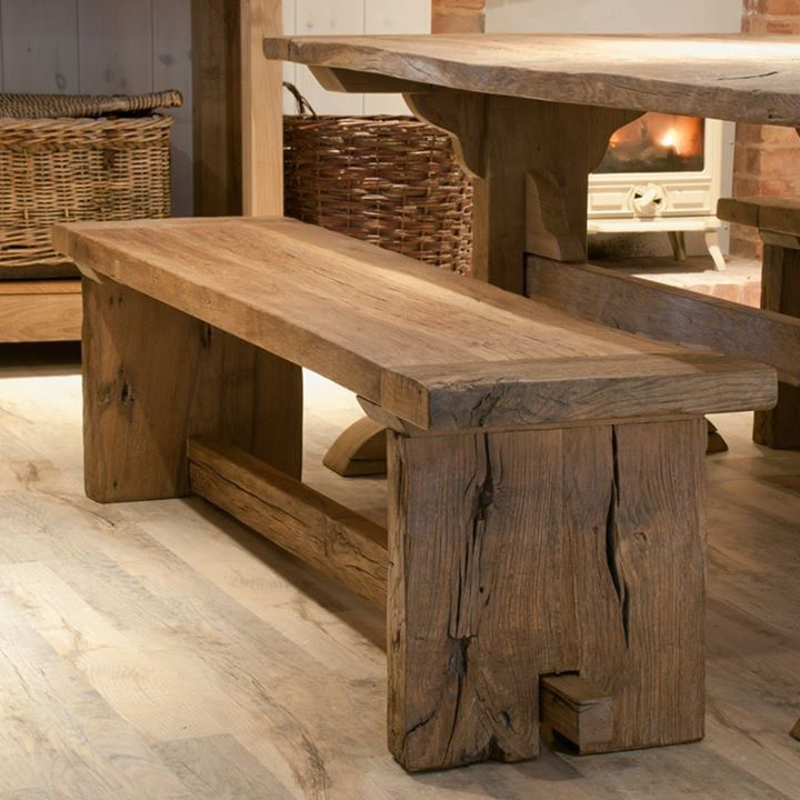 Eiken Bank Wood Bench Outdoor Rustic Furniture Reclaimed Wood Benches