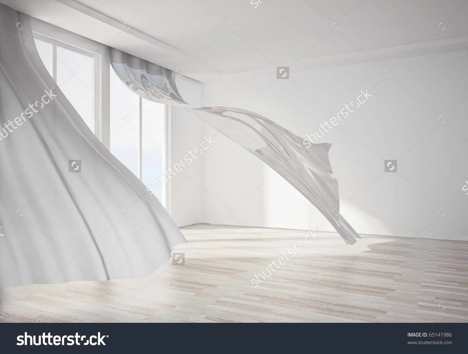 interior room with white flowing curtains 3D render art window