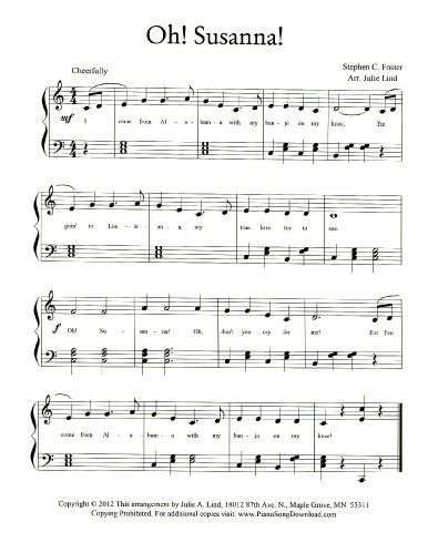 Oh Susanna Free Piano Sheet Music To Download And Print With