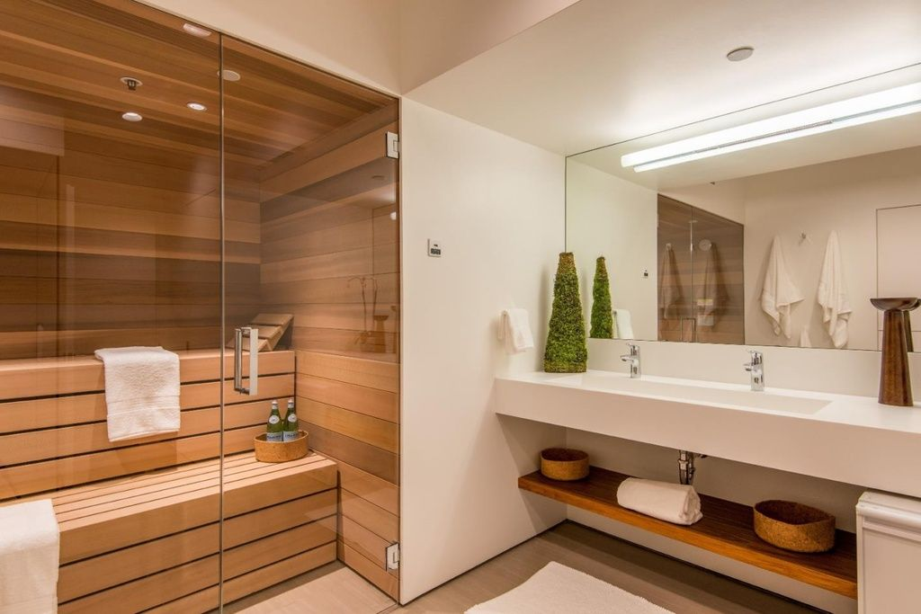 Contemporary Master Bathroom with Limestone counters, High ...