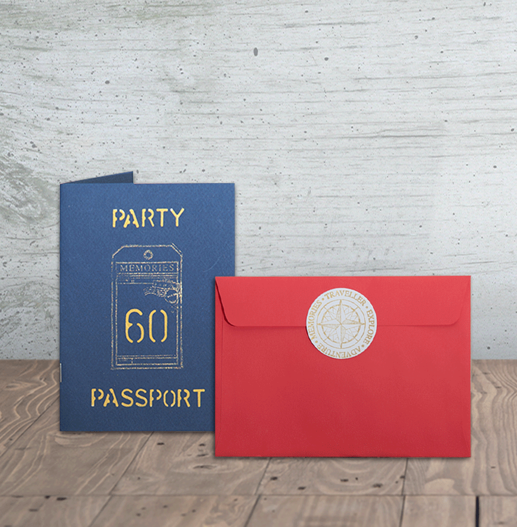 Party Passport Invitation Designed for a client who was celebrating ...