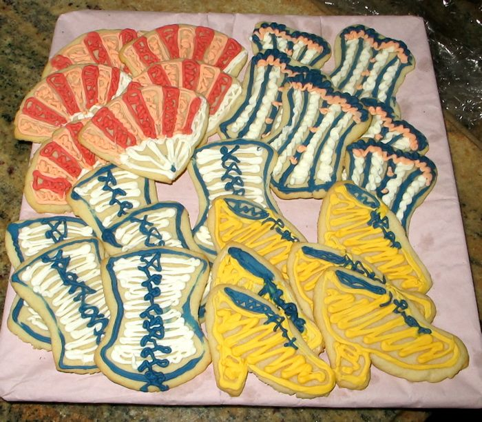 Corset, fan, and shoe shaped cookies