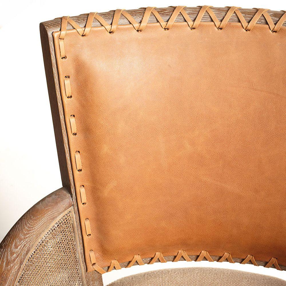Rustic Stitched-Back Armchair x 2